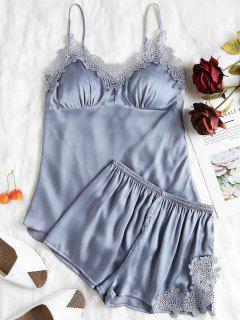 Cami Satin Top And Shorts Pajama Set - Blue Gray L