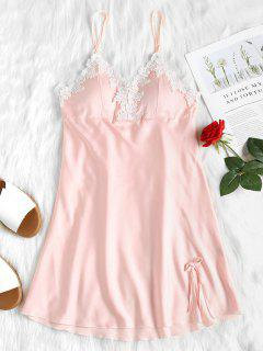 Lace Satin Babydoll Nightgown Slip Dress - Light Pink L