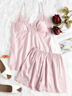 Cami Satin Top And Shorts Pajama Set - Pig Pink M