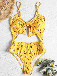 Ausgeschnittene Knoten Winziger Blumen Bademode - Bläulich Gelb S