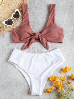 Two Tone Tied High Waisted Bikini Set - Pink Bow M