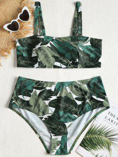 Plus Size Palm Leaves Bikini Set - Forest Green 2x