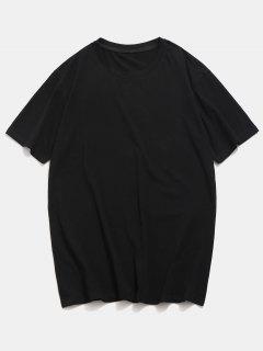 Camiseta Básica Con Cuello Redondo - Negro S