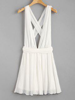 Self Tie Pleated Chiffon Plunge Sundress - White L