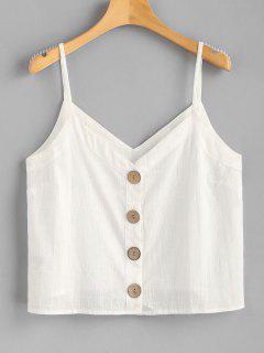Camisa Tejida De Cami Top Con Botones - Blanco M