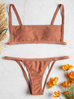 Ribbed Hook String Bikini Set - Orange Salmon L