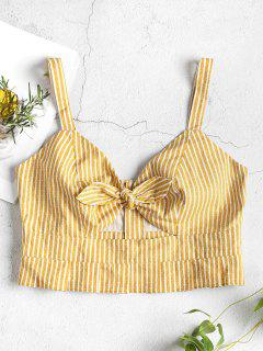 Striped Knotted Tank Top - Golden Brown M