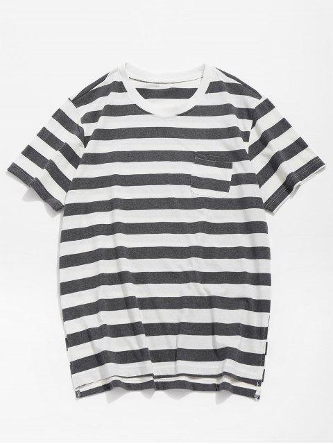 Camiseta de bolsillo dobladillo dividido a rayas - Gris S Mobile