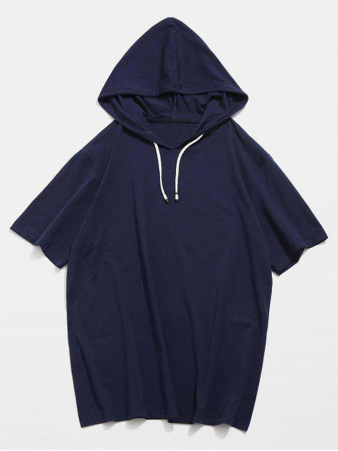 best Drawstring Short Sleeve Hooded T-shirt - DEEP BLUE S Mobile