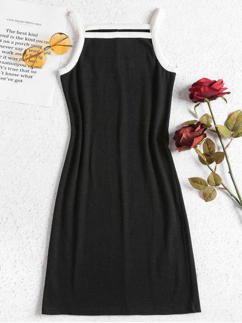 Kontrast Strick Bodycon Kleid - Schwarz L Mobile
