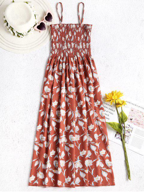 Vestido camisola con diseño floral - Salmón Naranja Única Talla Mobile