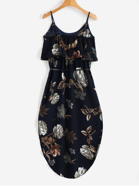 women Overlay Slit Floral Dress - DARK SLATE BLUE L Mobile