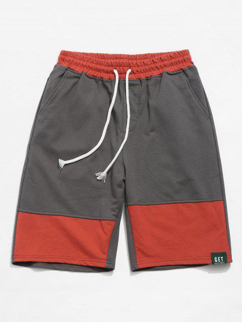 Pocket Patchwork Kontrast Lässige Shorts - Dunkelgrau S Mobile