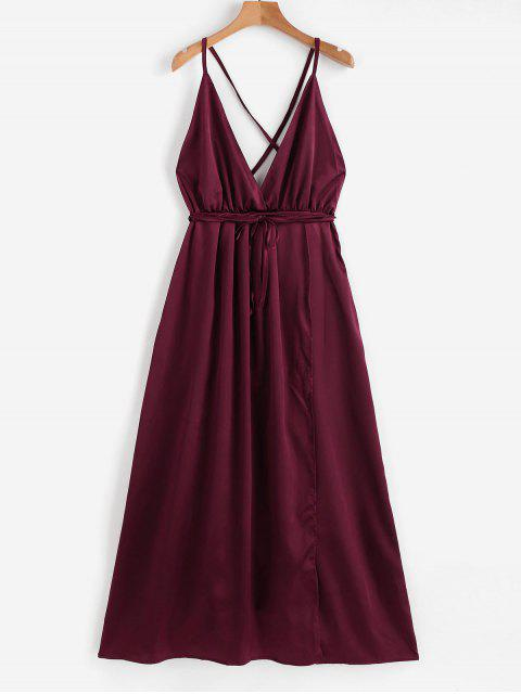 trendy Satin Criss Cross Maxi Dress - RED WINE M Mobile