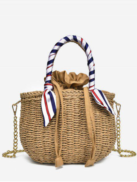 online Metal Chain Scarf Leisure Vacation Straw Tote Bag - LIGHT KHAKI  Mobile