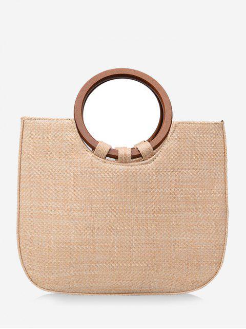 Bolso de mano minimalista de viaje de paja con correa - Beige  Mobile