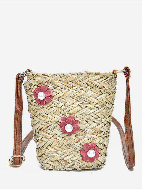 fancy Straw Casual Outdoor Trip Flower Crossbody Bag - RUBY RED  Mobile