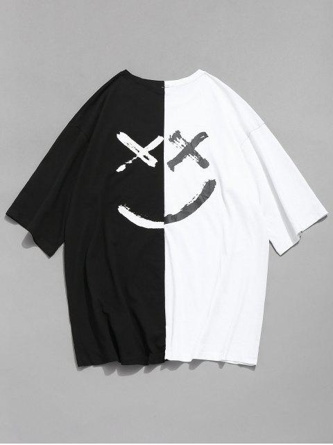 buy Smile Face Contrast Splice T-shirt - WHITE 2XL Mobile
