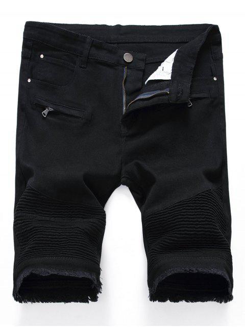 Plissee Reißverschlüsse Ausgefranste Saum Denim Shorts - Schwarz 32 Mobile