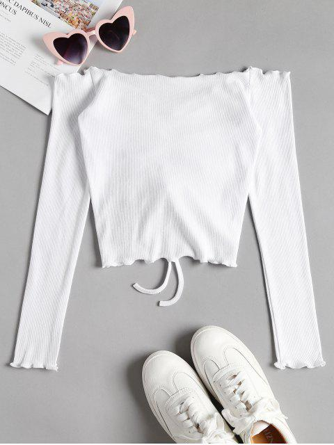 latest Gathered Off Shoulder Top - WHITE M Mobile