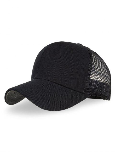 latest Outdoor Solid Color Mesh Hunting Hat - BLACK  Mobile
