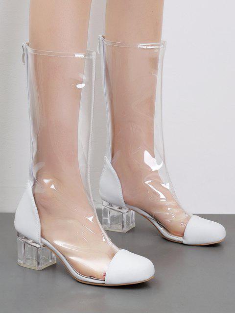Bottes Mi-Mollet Chics à Bouts Ronds et à Talons Épais en PVC Transparent - Blanc 39 Mobile