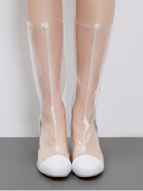 Bottes Mi-Mollet Chics à Bouts Ronds et à Talons Épais en PVC Transparent - Blanc 38 Mobile