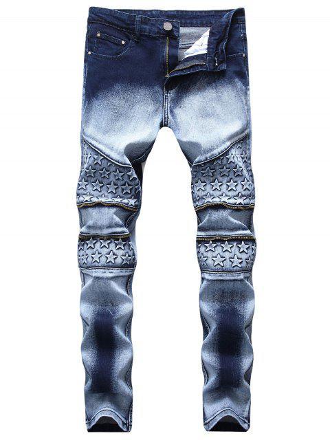 Knee Stars Zipper Biker Skinny Jeans - Azul de Pizarra Oscuro 32 Mobile