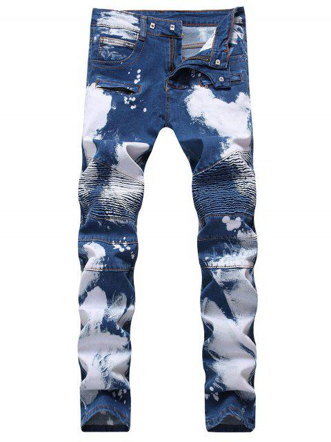 ladies Hook Button Paint Splatter Print Biker Jeans - DEEP BLUE 42 Mobile