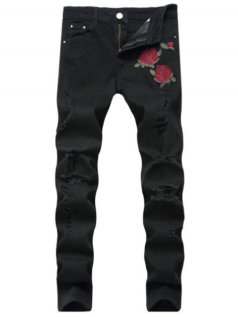 chic Flowers Embroidery Ripped Jeans - BLACK 40 Mobile