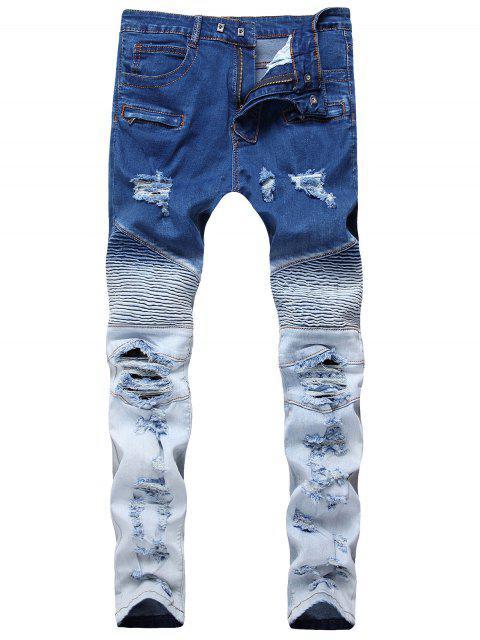 Gerippte Dünne Ombre Biker Jeans - Dunkel Blau 34 Mobile