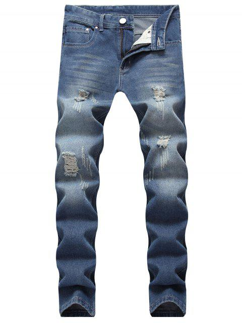 hot Washed Ripped Scratch Straight Jeans - DEEP BLUE 40 Mobile