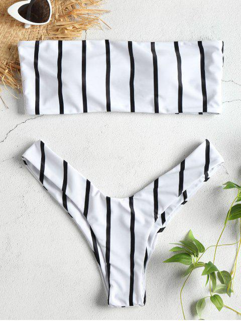 Bikini Bandeau Taille Haute en Ensemble à Rayures - Blanc S Mobile