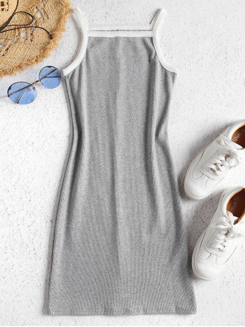 Vestido ajustado de punto con contraste - Gris XL Mobile