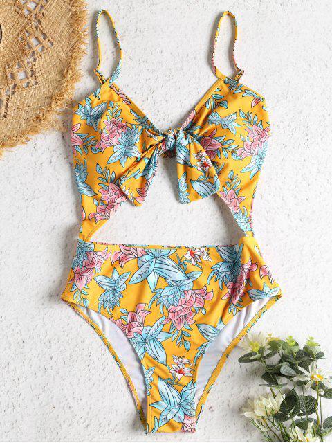 Blumen Ausgeschnittener Knoten Badeanzug - Helles Gelb S Mobile