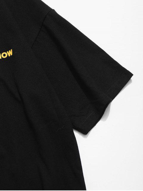 Contour Face Drawing Letter Print camiseta - Negro 2XL Mobile