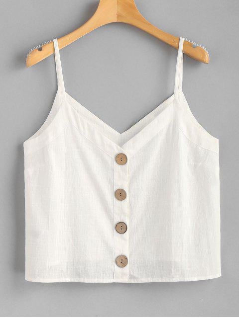 Camisa tejida de Cami Top con botones - Blanco L Mobile