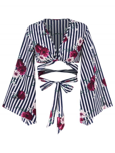 fashion Floral Striped Wrap Blouse - MIDNIGHT BLUE XL Mobile