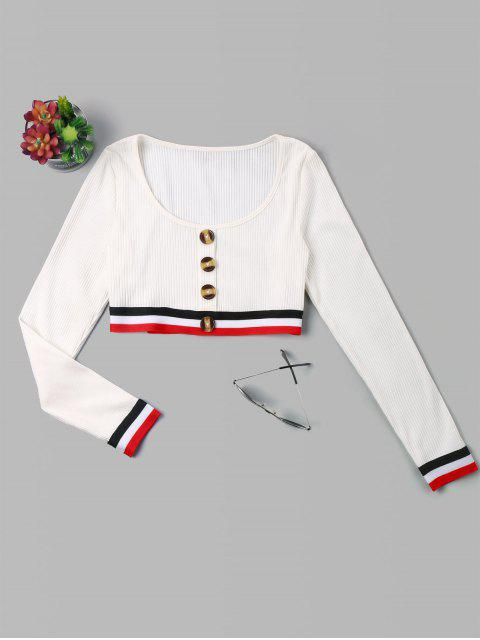 women's Buttons Stripes Patched Crop Tee - WHITE M Mobile
