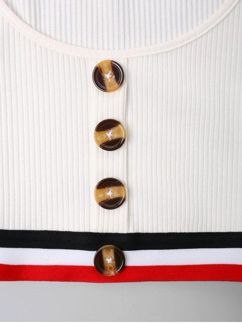 womens Buttons Stripes Patched Crop Tee - WHITE XL Mobile