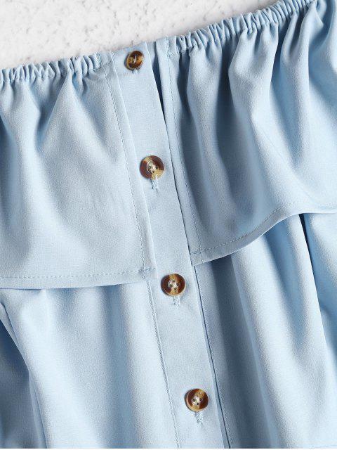 affordable ZAFUL Off Shoulder Button Up Mini Dress - BABY BLUE M Mobile