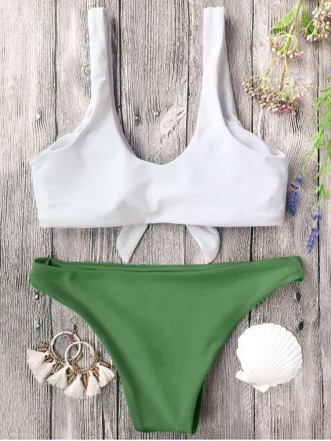 womens Padded Knotted Bralette Bikini Set - WHITE AND GREEN L Mobile