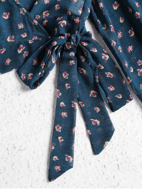unique Cropped Wrap Top - BLUE JAY M Mobile