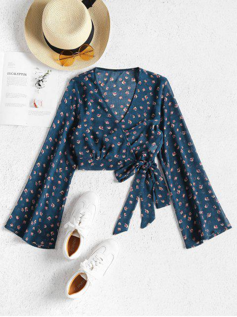 affordable Cropped Wrap Top - BLUE JAY S Mobile