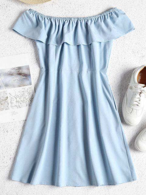 trendy ZAFUL Off Shoulder Button Up Mini Dress - BABY BLUE L Mobile