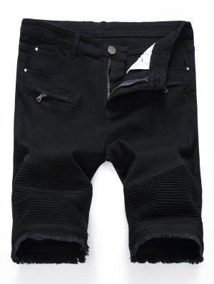 Plissee Reißverschlüsse ausgefranste Hem Denim Shorts
