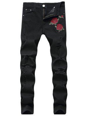 Blumen Bestickte Gerippte Jeans