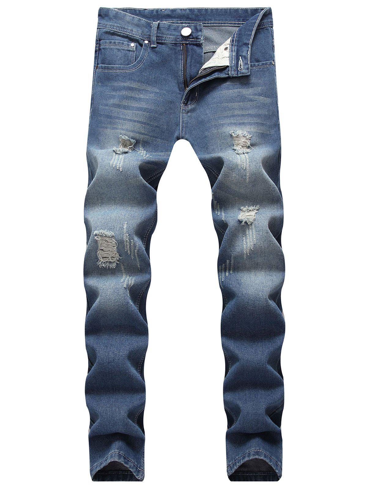 Washed Ripped Scratch Straight Jeans 270631402