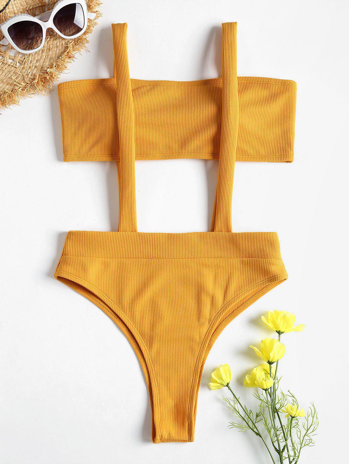 Ribbed Bandeau Suspender Two Piece Bikini Swimsuit