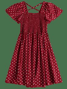 Vestido Pierna Vino Con Lunares Tinto Manga A Corta Y Media qRnqxAOw7